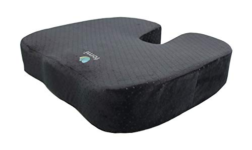 FOMI Extra Thick Firm Coccyx Orthopedic Memory Foam Seat Cushion | Black Large Cushion for Car or Truck Seat, Office Chair, Wheelchair | Back Pain Relief