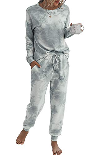 Spec4Y Pyjama Damen Zweiteilige Nachtwäsche Tie Dye Druck Langarm Oberteil Lang Hose Schlafanzug Loungewear mit Taschen 2035 Grau Weiß Large