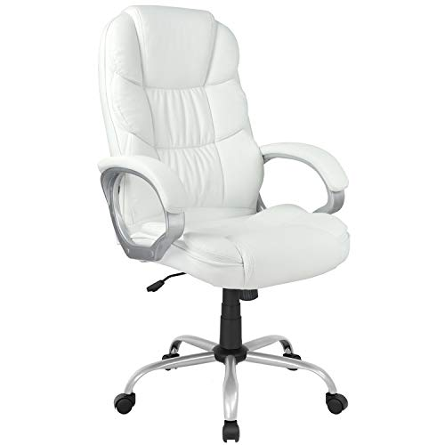 Ergonomic Office Chair Cheap Desk Chair Computer Chair with Arms Modern Executive Rolling Swivel Chair for Back Pain Adults Women,White