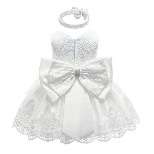 2PCs Vestito Principessa Bambina in Pizzo Abito Principessa Elegante Tutu Senza Maniche Neonata in Tulle Vestito da Festa Compleanno Matrimonio (Bianca, 3-6 Mesi)