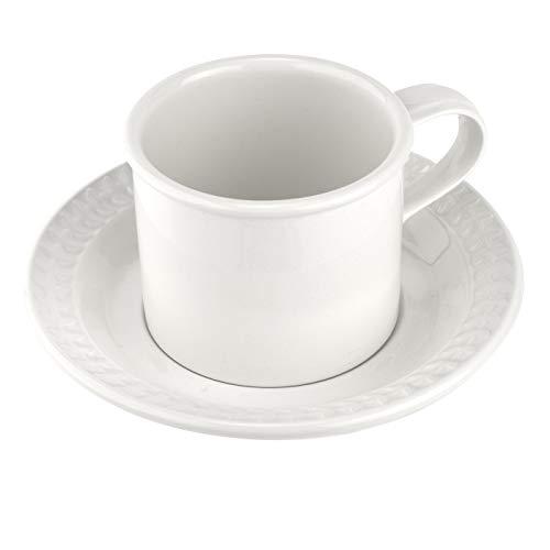 Portmeirion BAWHXX04153 Botanic Garden Harmony-Taza de Desayuno y platillo (9 onzas), Color Blanco, cerámica