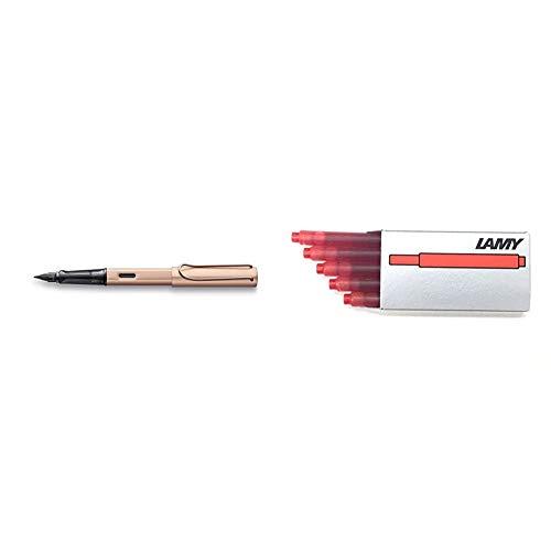LAMY Lx Füllhalter 076 – Füller aus Aluminium in der Farbe Roségold mit transparentem Griffstück und Stahlfeder – Federstärke M & 1202076 Tintenpatronen T10, rot