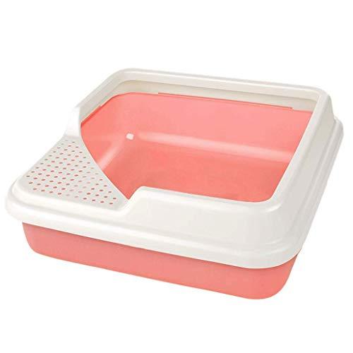 ZHOUM Plein Corner Kattenzand met RIM WC Pan Box, Cat groot of Jumbo kattenbak (Kleur: Roze, Maat: 44 * 44 * 14 cm)