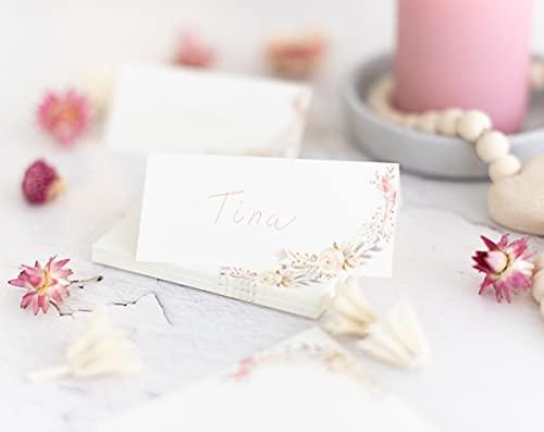 25 Stück - Tischkärtchen, Platzkarten, Sitzkarten für Deine Hochzeit, Geburtstag, Kommunion, Konfirmation oder Taufe (Trockenblumen)