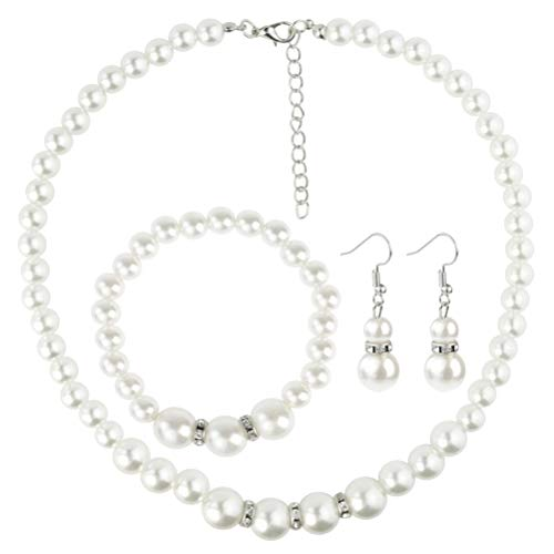 Artificial Pearl Necklace Earrings Bracelet Jewellery Set Silver Plated for Women Girls Birthday Weddings Bridal Christmas Day Gifts