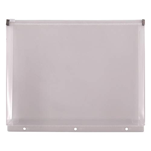 Staples 862437 Poly Zipper Pouch 3-Hole Punched Clear (26190)