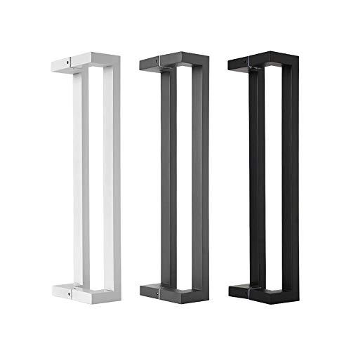 Manijas de Puerta Manija de la puerta de cristal cuadrado de acero inoxidable tubo de la manija Negro Gris Blanco Puerta doble curvatura Tirador de puerta Corredera ( Color : White , Size : 400MM )