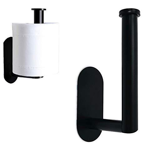 Portarrollos de Papel higiénico, sin Taladro, portarrollos de Papel higiénico de Acero Inoxidable 304, para Dormitorio, baño, Inodoro o Cocina, 14,2 * 7,3 cm (Negro)