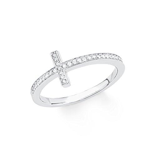 s.Oliver Damen-Ring So Pure Kreuz 925 Sterling Silber rhodiniert Zirkonia weiß