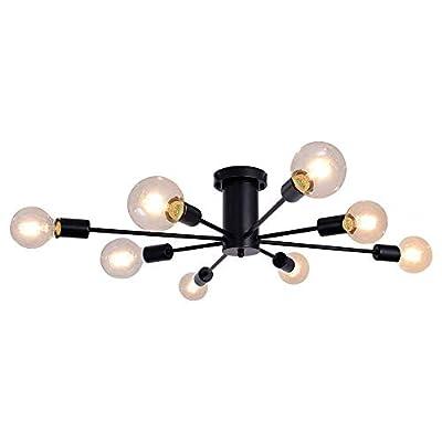 ALISADABOY Ceiling Lamp Black 8 Lights Semi Flu...