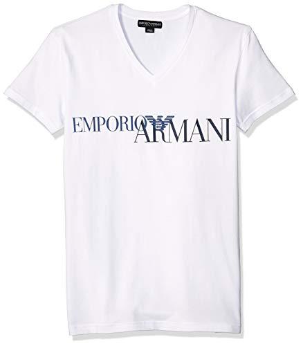 Emporio Armani Herren Megalogo V-Neck T-Shirt, weiß, Mittel
