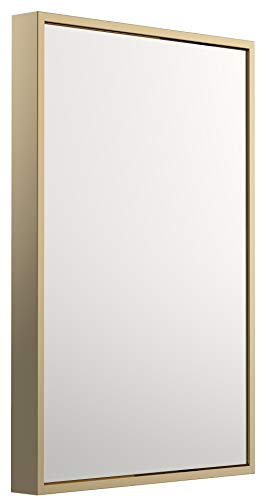 Bathroom Rectangle Mirror for Wall Clean Large Modern Sleek Finsh Gold Metal -