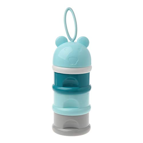 Manyo Boîte Doseuse Lait Poudre Portable, Boîte Doseuse- 3 Compartiments- Ours Mignon, sans BPA, Conteneur Lait en Poudre avec Poignée de Boucle (Bleu)