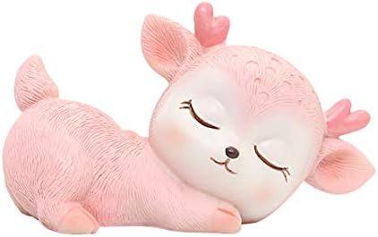 ZanLa Mini 3D Resin Art Decor Statue Ornaments Sleeping Baby Deer Statue Deer Baby Statue for product image