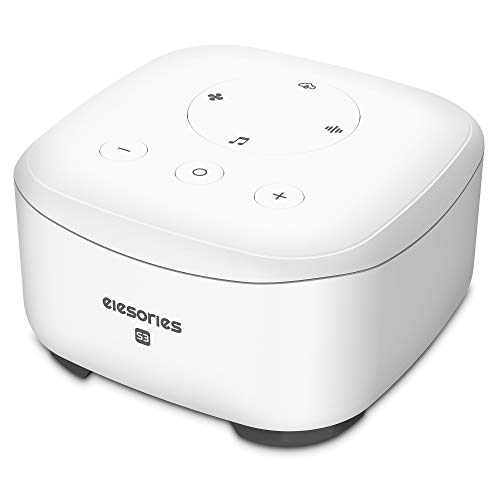 White Noise Machine, elesories Sound Machine Portable Sleep Therapy for Adults Baby Kids Sleeping, 30 Soothing Sounds Including White Noise/Fan/Nature/Lullaby for Nursery Office Home (White)