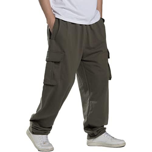 Huntrly Pantalones Casuales para Hombre Pantalones Casuales de Talla Grande con Multibolsillos y Pierna Recta Sueltos de Moda Pantalones Deportivos de Entrenamiento para Correr al Aire Libre XXL