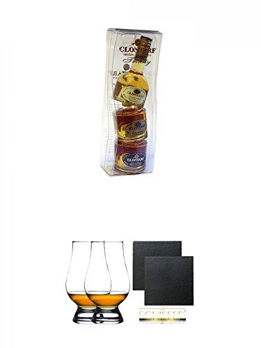 Clontarf Trinity Collection 3 x 5 cl + The Glencairn Glass Whisky Glas Stölzle 2 Stück + Schiefer Glasuntersetzer eckig ca. 9,5 cm Ø 2 Stück