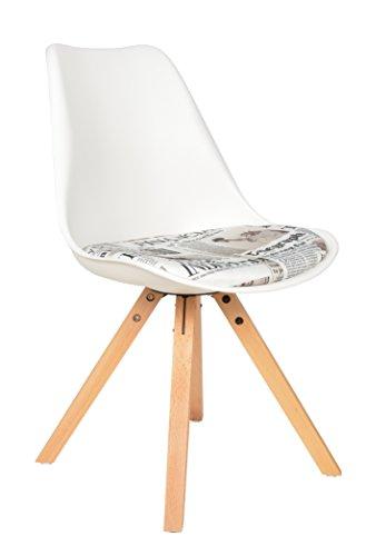ts-ideen Sedia Poltroncina Lounge Style in Bianco e Faggio con cuscino a trama GIORNALE