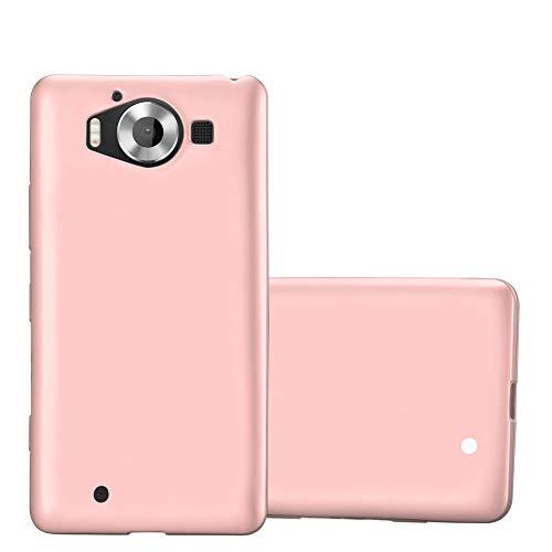 Cadorabo Hülle für Nokia Lumia 950 - Hülle in METALLIC Rose Gold – Handyhülle aus TPU Silikon im Matt Metallic Design - Silikonhülle Schutzhülle Ultra Slim Soft Back Cover Case Bumper