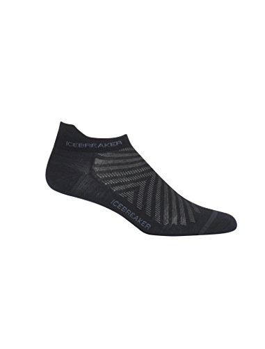 Icebreaker Merino Men's Run+ Ultralight Cushion Micro Socks, Black/Monsoon, X-Large