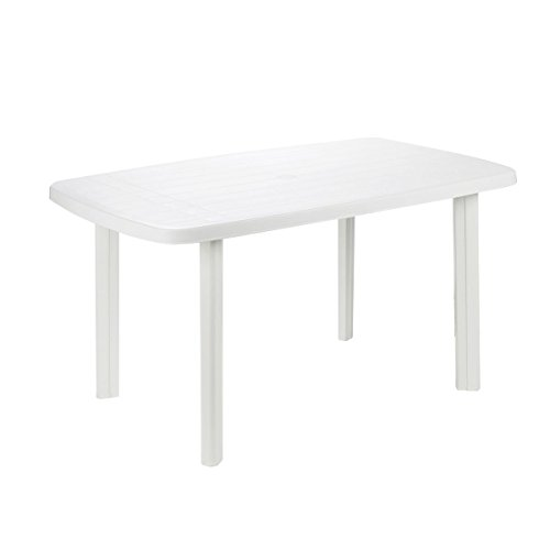 PROGARDEN - Mesa plastico, 87 x 138 x 6 cm, color blanco