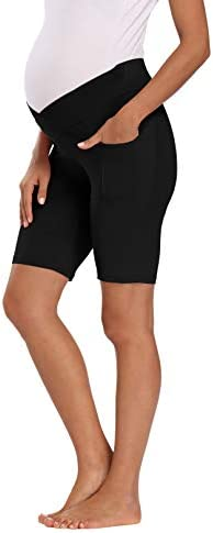 Foucome Maternity Shorts Women s Low Rise Stretch Running Workout Shorts with Pocket Black product image