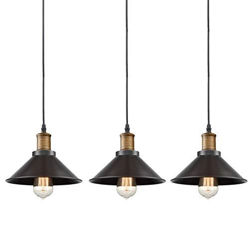 CLAXY Ecopower Industrial Edison Mini Oil Rubbed Bronze Pendant Light 3 Pack