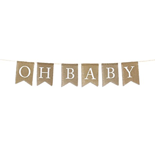 Andaz Press Real Burlap Fabric Pennant Hanging Banner Oh Baby, Pre-Strung, No Assembly Required, 1-Set