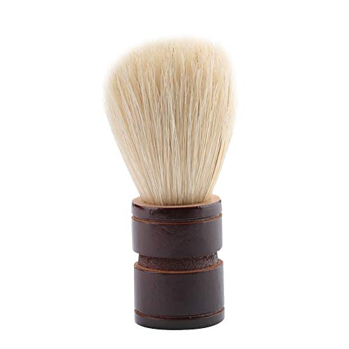 ANGGREK Brosse à Barbe Humide Traditionnelle Barbe Portable Hommes poignée en Nylon/Brosse à Poils Brosse de Rasage en Bois pour Salon de Maison à l'aide de crème à raser et de Savon(Bois + Poils)