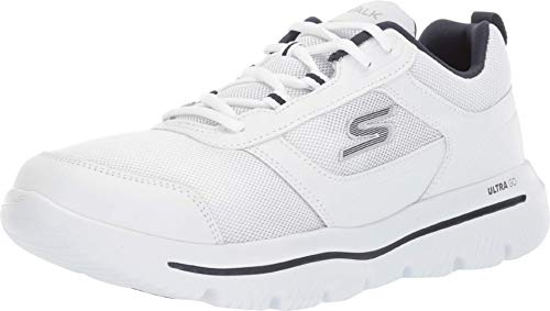 Skechers Men's GO Walk Evolution Ultra-Enhance Sneaker, White/Navy, 10.5 M US