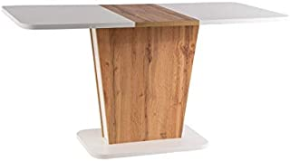LUENRA Table de Salle à Manger rectangulaire (Extensible), Plateau stratifié, coluleur chêne wotan et Blanc Mat, 110 (145 ...