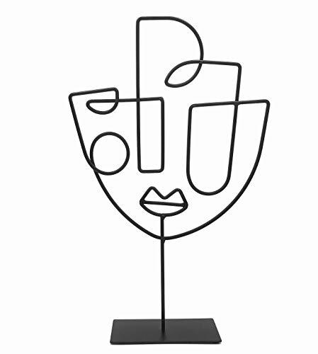 Cozymondo Moderne Dekofigur: Single-Line-Face-Art | Schwarze Deko Statue im afrikanischen Design als abstrakte Deko für...