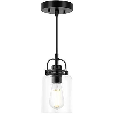 1 Pack Pendant Lighting, Minetom Matte Black Modern Hanging Light Fixtures with Clear Glass Lamp Shade, Adjustable Cord Pendant Light for Kitchen, Restaurant, Dining, Living Room Decor