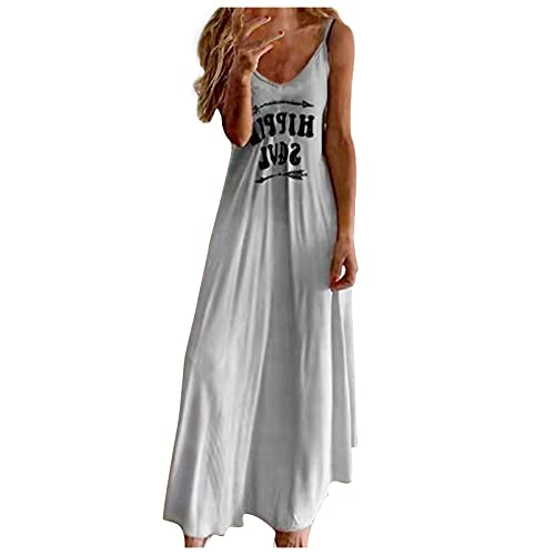 XWANG Vestido de verano para mujer, sin mangas, largo hasta el tobillo, diseño sexy 1 - gris. XXL