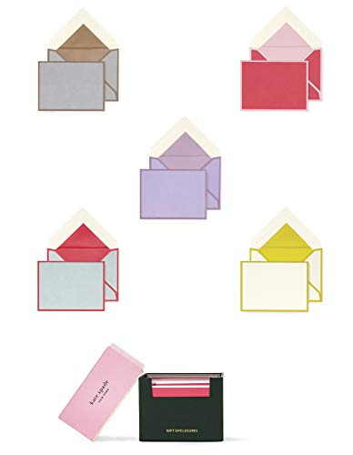 Kate Spade New York Gift Enclosures Card Set of 25 with Blank Interior and Lined Envelopes, Colorblock