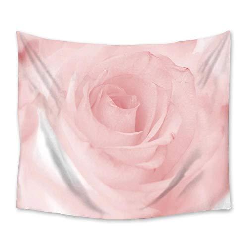 AdoDecor Tapiz de Flor Rosa Brillante Colgante de Pared Poliéster Decoración de Dormitorio en casa Colcha de Dibujos Animados Colcha de Playa Manta Estera de Yoga Tapiz 150x200cm