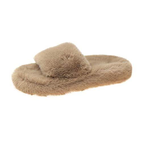 XZDNYDHGX Zapatillas de Estar por casa Mujer,Zapatillas de Piel para Mujer, Zapatos de Invierno, Zapatillas de casa, Felpa, Interior, cálido, Mullido, de algodón, Caqui, UE 36
