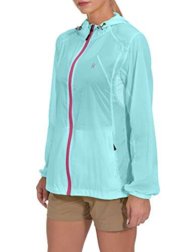 Little Donkey Andy Women's UPF 50 Protection Jacket Lightweight Packable Full Zip Hoodie for Running Cycling Walking, Light Blue Large