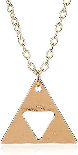 LBBYLFFF Collar Metal Triángulo Collares Pendientes Joyería Cadena de eslabones Largos Charm Collier Gift Girls Boy Collar