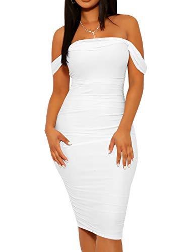 Mizoci Women's Summer Sexy Bodycon Tube Top Off Shoulder Party Club Midi Dress,X-Large,White