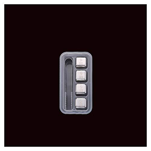 LSGMC Cubitos de Hielo Reutilizable Set - 4/6/8 Cubos Refrigeración Acero de Calidad   Piedras Whisky, Cocteleria Mini Bar Accesorios - Idea Caja de Regalo Padre Mujer Hombre Cumpleaño,Set of 4