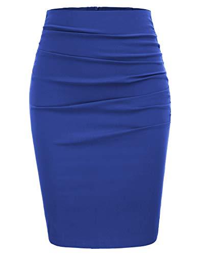 GRACE KARIN Mujer Falda Làpiz hasta la Rodilla Azul Bodycon Falda de Tubo para Mujeres Tamaño 2XL CL866-6
