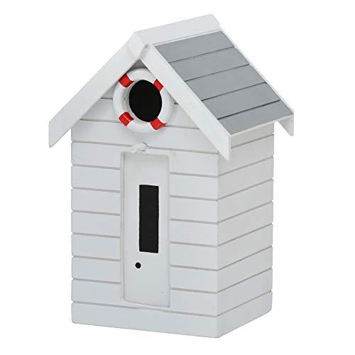 CasaJame Holz Vogelhaus für Balkon und Garten, Nistkasten, Haus für Vögel, Vogelhäuschen, Maritim Weiß Deko, 21x14x13cm
