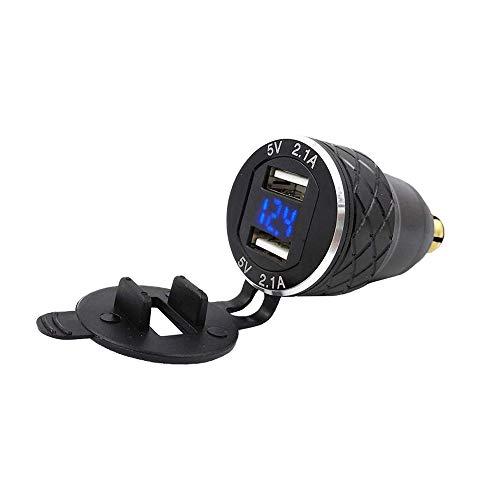 Jaimenalin Doppio Adattatore da 5 V 2.1A DIN per USB, Caricatore USB Universale per Moto in Lega di Alluminio Presa DIN Presa di Corrente Voltmetro per Moto/Telefono//GPS/Satnav