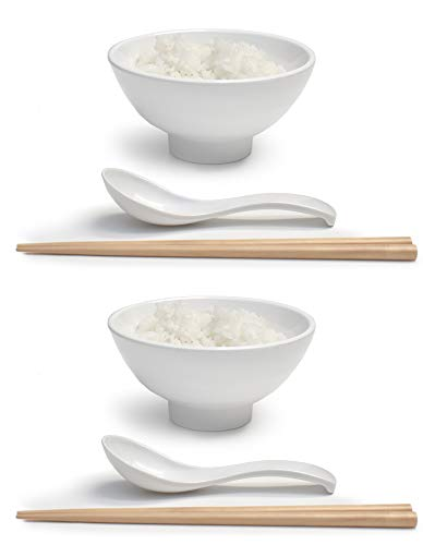 Set of 2 (6 Pieces) 9.5 Ounce Japanese Small Rice Bowl Thick Melamine Hard Plastic Dishware Set for Fruits Snacks Appetizers Soups Dips with Spoon and Chopsticks (2, White, 4.7 inch)