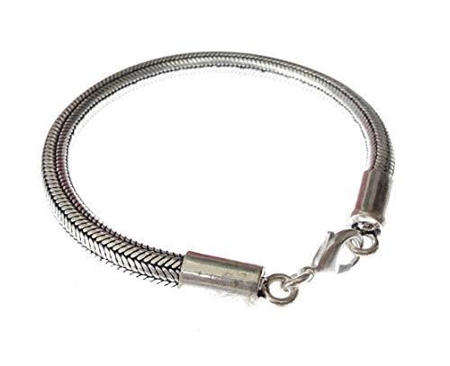 Pulsera de cadena de serpiente para mujeres y hombres Pulsera unisex chapada en plata oxidada 925 Pulsera de eslabones hechos a mano Pulsera / longitud únicas: 9 pulgadas; 6 mm de ancho