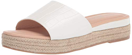 Chinese Laundry womens Slip-on, Espadrille Slide Sandal, White Croco, 8 US