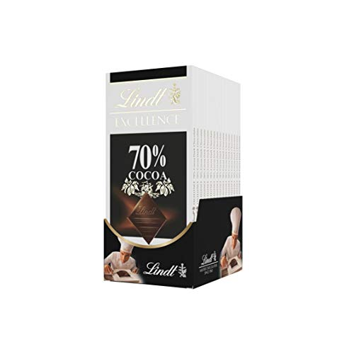 Lindt Excellence Bar, 70% Cocoa Smooth Dark Chocolate, (Pack of 12)