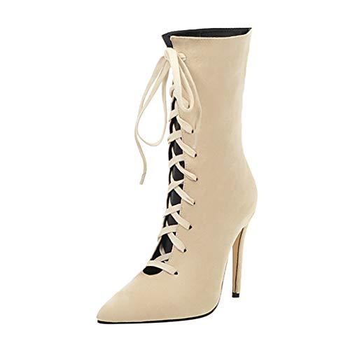 Frauen Absatz Stiefeletten Einfarbig mit Einer Röhre Reine Farbe Spitzschuh Schnür Stiefel Dünne Absätze Vintage Booties(37 EU,Beige)