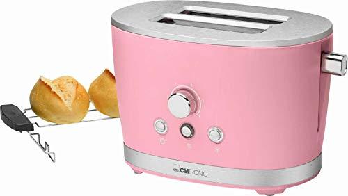 Toaster mit Brötchenaufsatz Pink Edelstahl Regelbarer Thermostat (Retro, 850 Watt, 2 Toastschlitze, Krümelschublade)